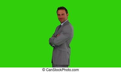 zakenman, kijken naar van het fototoestel