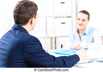 zakenman, klesten, met, een, collega