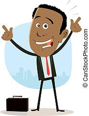 zakenman, koel, afrikaan, vrolijke