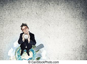 zakenman, komisch, rood, bril