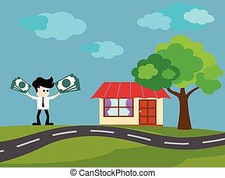 zakenman, kopen, woning