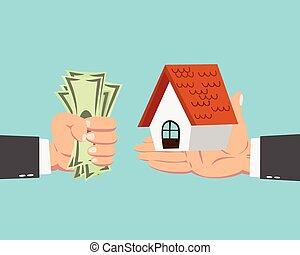 zakenman, kopend huis