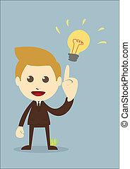 zakenman, krijgen, de, idee