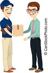 zakenman, krijgen, post, verpakken