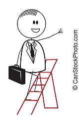 zakenman, ladder