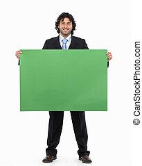 zakenman, leeg, vasthouden, meldingsbord