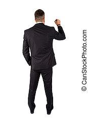 zakenman, lengte, volle, vrijstaand