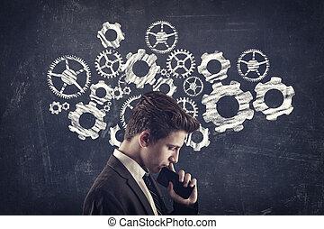 zakenman, manages, tandwiel, om te, succes