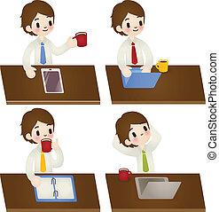 zakenman, maniertjes, set, gevarieerd, spotprent