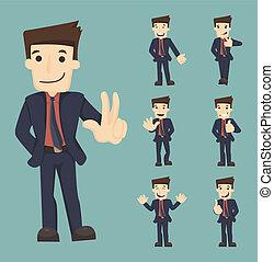 zakenman, maniertjes, set, karakters
