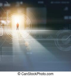 zakenman, media, silhouette, afbeelding