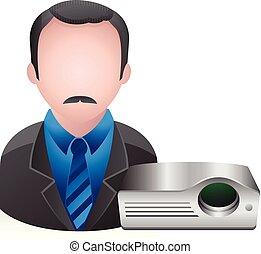 zakenman, mensen, -, avatar, iconen