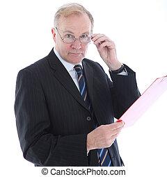 zakenman, met, beoordeling, blik