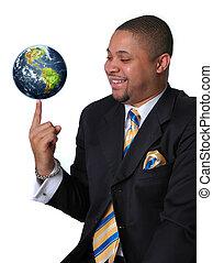 zakenman, met, de aarde