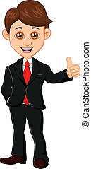 zakenman, met, duim boven