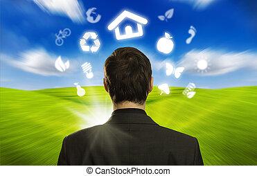 zakenman, met, eco, iconen, zwevend, ongeveer, zijn, hoofd