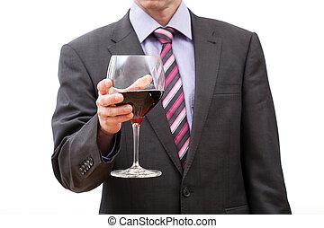 zakenman, met, glas van rode wijn