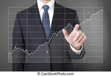 zakenman, met, groeiende, tabel