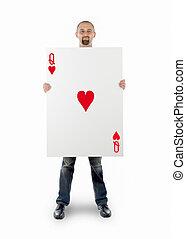 zakenman, met, groot, speelkaart