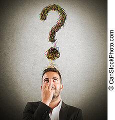 zakenman, met, groot, vraag