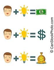 zakenman, met, idee, bol, krijgen, veel, van, geld., zakelijk, creativiteit, concept.