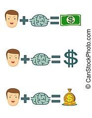 zakenman, met, idee, krijgen, veel, van, geld., zakelijk, creativiteit, concept.