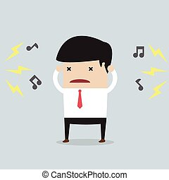 zakenman, met, lawaai