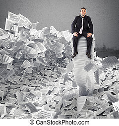 zakenman, met, papier, blad, anywhere., begraven, door,...
