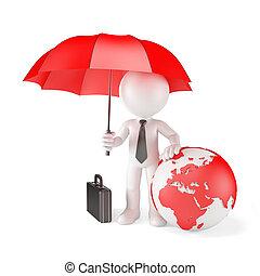 zakenman, met, paraplu, en, aarde, globe., globaal, bescherming, concept