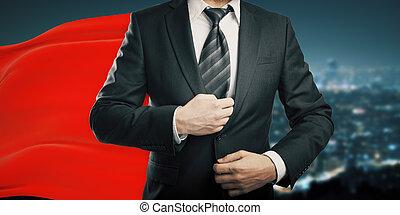 zakenman, met, rood kaaps, nacht