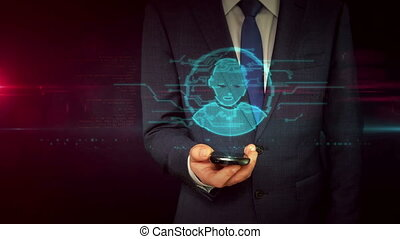 zakenman, met, smartphone, en, hoofd, vorm, hologram,...