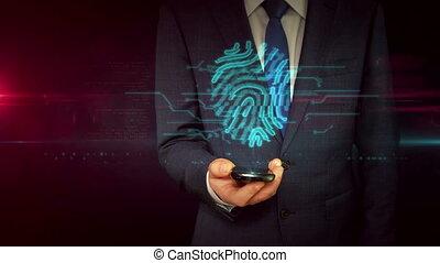 zakenman, met, smartphone, en, vingerafdruk, meldingsbord,...