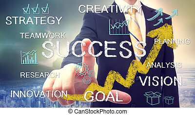 zakenman, met, succes, concept