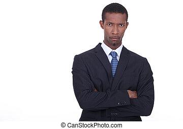 zakenman, met, vastberaden, uitdrukking, op, gezicht