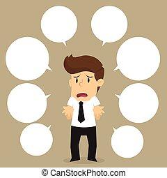 zakenman, met, veel, van, vragen