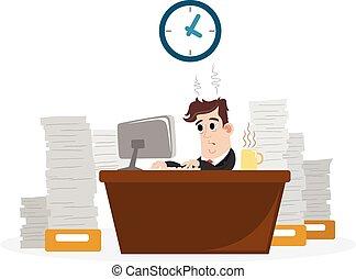 zakenman, met, veel, van, werken