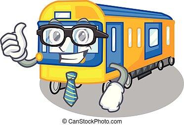 zakenman, metro trein, speelgoed, in vorm, mascotte