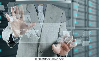 zakenman, moderne technologie, optredens