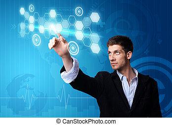 zakenman, moderne technologie, werkende
