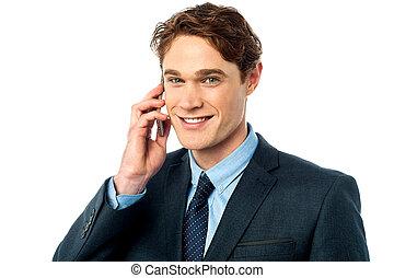 zakenman, mooi, roepen, hebben, telefoon