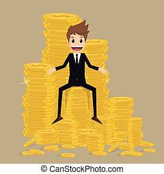 zakenman, munt, stapel, goud, zittende