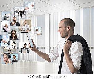 zakenman, naar kijkt, zijn, team