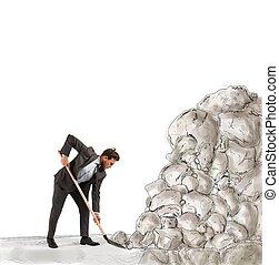 zakenman, obstakel, verwijderen