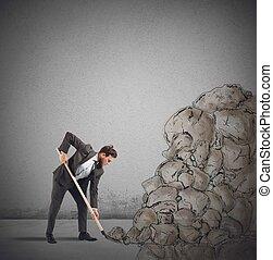 zakenman, obstakel, verwijdert, rots