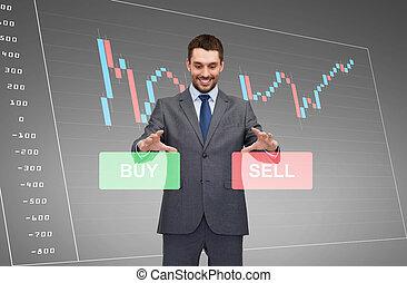 zakenman, of, beursmakelaar, op, de, tabel