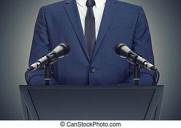 zakenman, of, politicus, vervaardiging, toespraak, achter,...