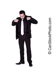 zakenman, omhoog zich kleedt