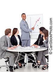 zakenman, omzet, berichtgeving, het glimlachen, figuren