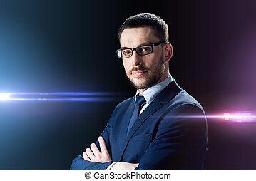 zakenman, op, black , bril