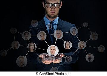 zakenman, op, black , netwerk, contacten